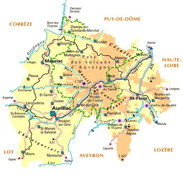 carte relief cantal