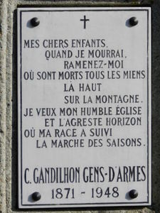 Gandilhon plaque tombe
